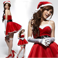 New sexy lingerie 2014 Red velor Christmas costumes clothes dress uniform temptation sling photography clothes