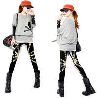 New 2014 Autumn Spring Cotton Fashion Women's Skinny Leggings Yellow UK Flag Patterns Print Pencil Pants L606
