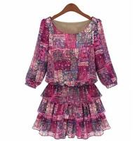 NEW Summer Women's Red Fancy Floral Print Chiffon Mini Dress Plus Size Layered Ball Gown Puff Sleeve Dress L,XL,XXL,4XL,3XL,5XL