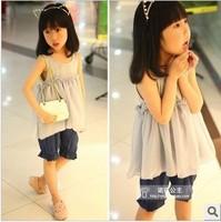 wholesale(5pcs/lot)- 2015 summer cotton chiffon sleeveless shirt for child girl