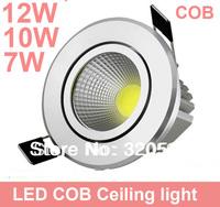 Free ship 20pcs/lot 7w 10w 12w COB led down light , 85~100LM/W AC85~265V wholesale LED ceiling light