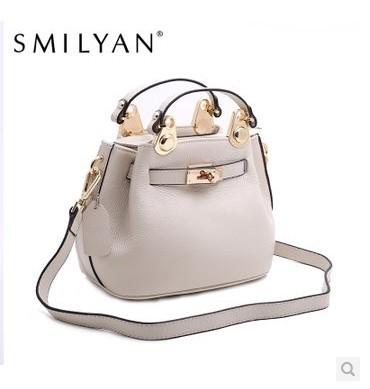 Smilyan women's genuine leather handbag 2014 messenger bag ladies shoulder bag rivet bag fashion female bag small(China (Mainland))