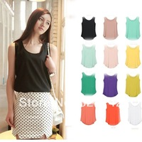 2014  New Exclusive Women New Casual Sweet Candy Color Slim Fit Sleeveless Chiffon Blouse Shirt Top 11Colors Free Ship