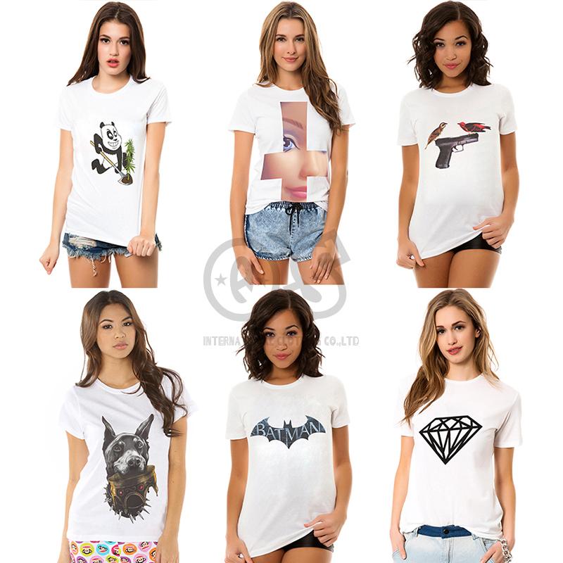 women clothing 2014 new fashion t shirt women tee tops for women white cotton tee animal panda batman print t-shirts t1028(China (Mainland))