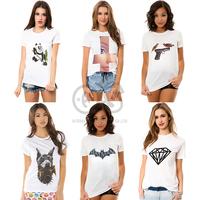 women clothing 2014 new fashion t shirt women  tee tops for women white cotton tee animal panda batman print  t-shirts t1028