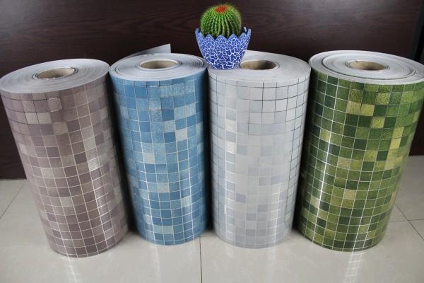 Moderne aluminium folie moza ek tegels voor de badkamer - Papel vinilico para cocinas ...
