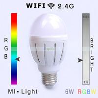 WIFI and 2.4G Control 6W RGB+Warm White RGBW Led Bulb AC85-265V E27 base Full Color and Brightness Adjustable