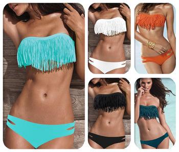 2015 мода марка кисточкой бюстгальтер девушку сексуальное бикини Set PAD купальники спорт бахромой топ купальники пляжная одежда
