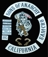 16 inches XXL Large SONS OF ANARCHY BIKER VEST SOA GRIM REAPER EMBROIDERED BACK OF JACKET PATCH