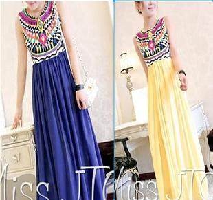 2014 long dress Women Ethnic Printed Bohemia Sleeveless Pleated Stitching Chiffon Dress Women Summer Dress Maxi Novelty Dresses(China (Mainland))