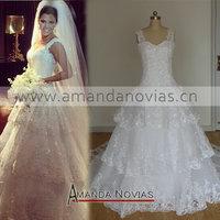 2014 vestido de casamento Hot Sale White Sexy Amanda Novias Ball Gown Modest Wedding Dress Lace ns764