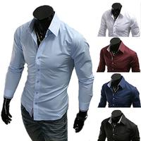 Men's Dress Shirt Brand 2014 Tops Mens Slim Fit  Blouse Long Sleeve Fashion Dress Men Shirts Trim Shirts Cardigans R1574