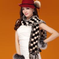2014 Winter Women's Genuine Real Knitted Mink Fur Scarves with Tassels Lady Fur Muffler Neckwarmer VK1412