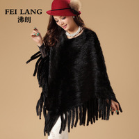 2014 Autumn Winter Ladies' Genuine Real Knitted Mink Fur Pullover with Tassels Women Fur Pashmina Wraps Cape VK1411