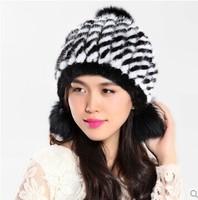 2014 Autumn Winter Ladies' Genuine Real Knitted Mink Fur Hats Fox Fur Ball Accessory Women Fur Beanies Caps VK1460