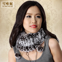 Dual Function Winter Genuine Real Knitted Rex Rabbit Fur Rings Women Fur Neck Muffler Scarf Lady Fur Hats VK1450