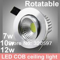 20pcs/lot  7W 10W 12w rotatable COB LED ceiling light,  AC85~265V/white &and warm white  wholesale rotating led down light