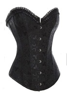 Free Shipping Black Sleepwear Sexy Women Lace Tops Steel Bustier Lingerie Overbust Corset Dresses 3XL Plus Size Corset Dropship