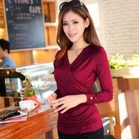 spring fashion elastic slim pleated top V-neck female long-sleeve T-shirt plus size basic shirt