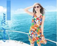 Free Shipping Summer Bohemia Printed Chiffon Women Dress Plaid Beach Seaside Sleeveless Size M L XL Wholesale/Retail