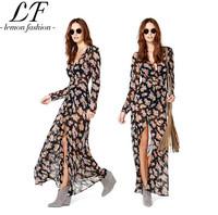 Women Summer Fashion Floral Printing Long Sleeve Black Soft Chiffon Dress Drop Shipping