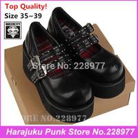 2014 Queencity Japanese Harajuku Style Punk Double Zipper Hasp College Retro Platform Shoe Big Head Mcdonald 's alice head shoes