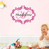 Custom-made  Personalized Baby Girl Monogram Name Nursery Damask Vinyl Sticker For Kids Rooms-You Choose Name and Color
