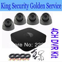 Free Shipping by DHL New 4CH CCTV DVR Kit Home Security Camera System + 4x 800TVL CCTV Cameras