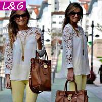 New 2014 Fashion Women Blouses Hot Selling Lace Blusas Femininas Spring Summer Plus SIze Ladies Chiffon Shirts Sale Tops 40034