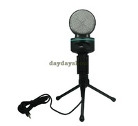 3.5mm Stereo Karaoke Studio Speech Podcast Microphone Mic w/Stand Mount Webcast Skype MSN PC free drop shipping
