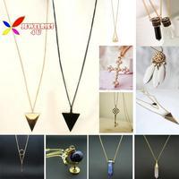 2014 fashion hot punk simple 3colors triangle pendant long costume necklace for men & women colar de pingente collier