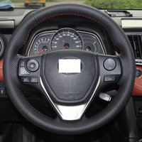 Steering Wheel Cover for 2013 Toyota RAV4 2014 Toyota Corolla XuJi Car Special Hand-stitched Black Genuine Leather Covers