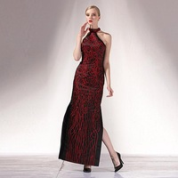 Elegant cheongsam formal dress long design decorative pattern one-piece dress clothes chinese style