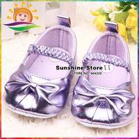 Sunshine store #2X0117 3 pair/lot(purple)Fashion Girls BABY shoes Anti-slip soft bright color bowkont princess Kids First Walker