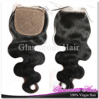 DHL Free Shipping 10inch~22inch Density 180% Free Part 6A Silk Base Closure Brazilian Hair Body Wave