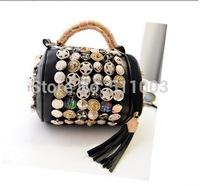 School Metal Decoration Women Messenger Bags Punk New Fashion Eye-Catching Women Leather Handbags Tassel Tote Shoulder Bags