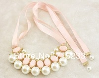 Fashion Necklace Chain Accessories Ribbon Short Design Pearl Gem Luxurious Necklace