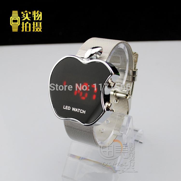 Electronic 2014 New Oblong Arc LED Sports Mesh Steel Belt Digital Watch Men Full Steel Watch Relogio Masculino Gift Wristwatches(China (Mainland))