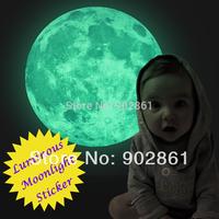 Funlife Dia 30cm 12 in Peel N Stick World Moonlight Sticker Glow In The Dark Moon wall Children Room Luminous Planet FL1073