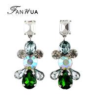 Luxury 2014 Green Flower Design Long Dangle Created Diamond Earrings for Women