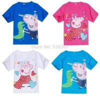 New 2014 Arrival Peppa Pig T-shirt White Pink Children T shirt Girls Clothes Boy Tees 100% Cotton