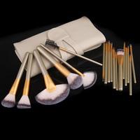 Professional 18 PCS Nylon Hair Make up Brushes Sets Tools Cosmetics Beauty Make up Kit with Beige Case