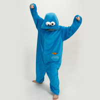 Cosplay Party Halloween Costume Kigurumi for Adult Blue Sesame Street Cookie Monster Unisex Plush Animal Women Onesies Pajamas