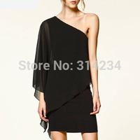 2014 Black asymmetrical chiffon one-piece dress cloak design one shoulder slash neck plus size summer dresses