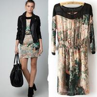 2014 New Arrival Women's Painting Landscape Print Floral Cheap Chiffon Dress For Elegant Women Modern Fashion Dress lyq01
