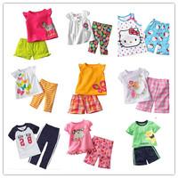 Retail 1pcs Girls short sleeve clothing set Summer t-shirt + pants Boy's suits Children's Clothes Trouses Tops Kids Cotton