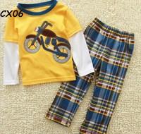 Brand Cotton 2014 New Girls Clothing Sets Pajamas Boys T-shirt  pants Long sleeve tees 100% Cotton Hot  Kids Baby Tees