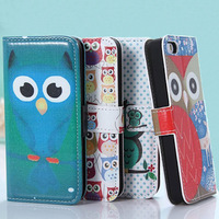 Fashion Lovely Owl Design Wallet Leather With Card Holder Cove Case For iphone 4 4S 5 5S Phone Bag Free Screen Flim and Stylus