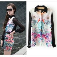 Spring Fashion Women's Clothing Long Sleeve Chiffon Shirts Floral Birds Print Lapel Desigual Lady Blouse white Plus Size  nz10