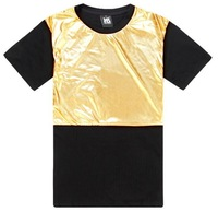 Pu Leather T-Shirt/ Golden Color Pu Leather T Shirt Men Dropshipping/ Arsalan Tee T shirt Summer
